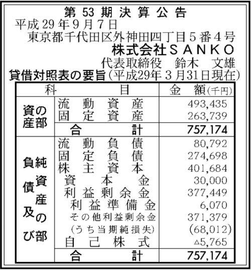 SANKO第53期決算