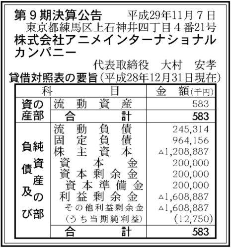 アニメインターナショナルカンパニー第9期決算