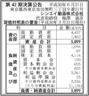 シンエイ動画第42期決算