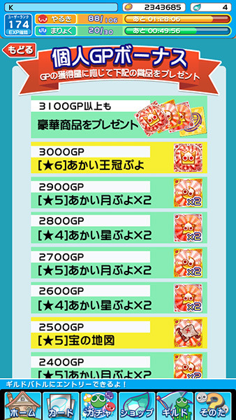 プワープリーグ賞品GP