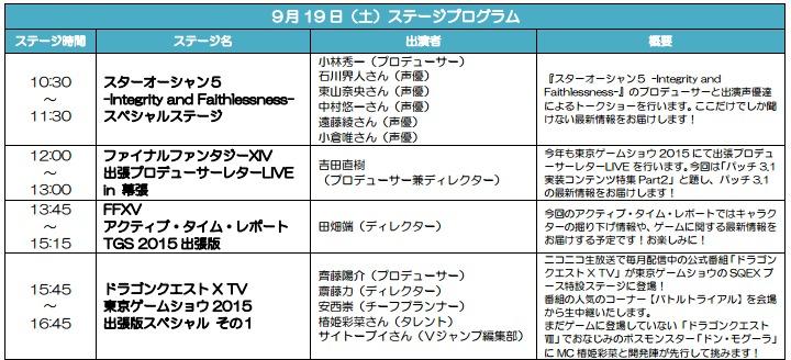『SQUARE ENIX Presents JAPAN TOKYO GAME SHOW 2015 スペシャル』