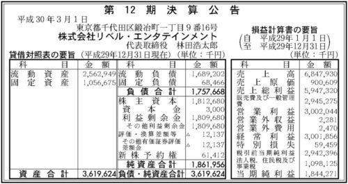 リベルエンタテインメント 第12期決算