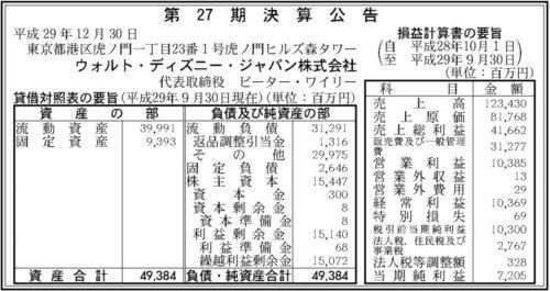 ウォルト・ディズニー・ジャパン第27期決算