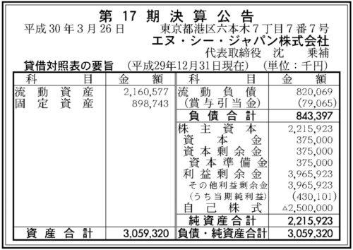 エヌ・シー・ジャパン 17期 決算