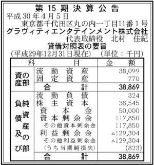 グラヴィティエンタテインメント 第15期決算