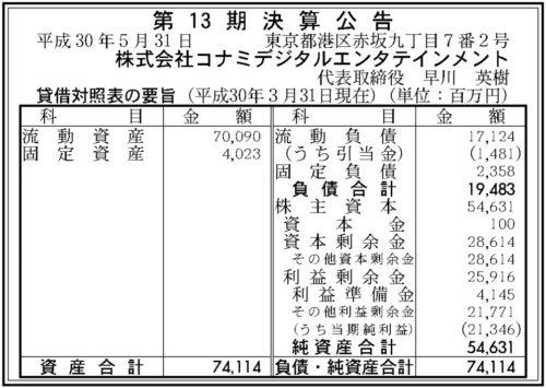 コナミデジタルエンタテインメント第13期決算
