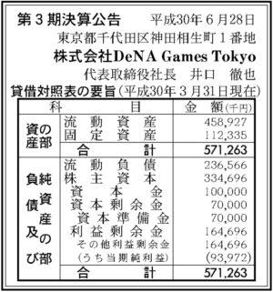 DeNA Games Tokyo第3期決算
