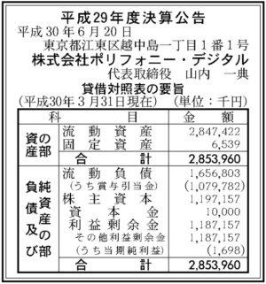 ポリフォニー・デジタル平成29年決算