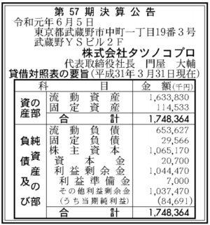 タツノコプロ第57期決算