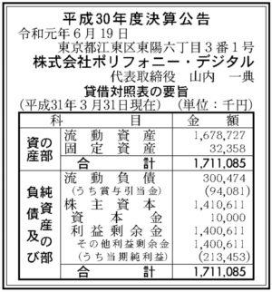 ポリフォニー・デジタル平成30年決算