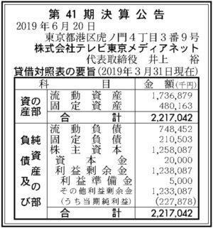 テレビ東京メディアネット第41期決算