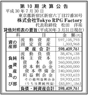 Tokyo RPG Factory第10期決算