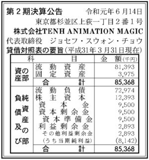 TENH ANIMATION MAGIC第2期決算