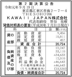 KAWAII JAPAN第2期決算
