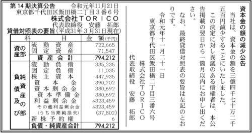 TORICO 資本金減少