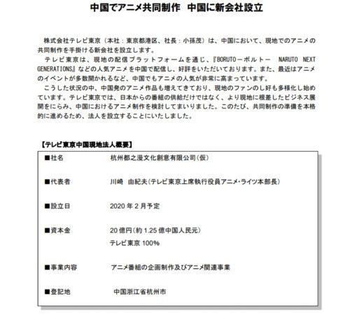テレビ東京 中国