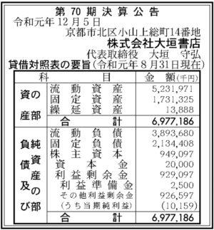 大垣書店第70期決算