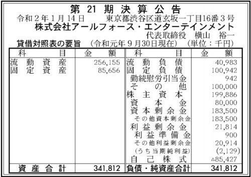 アールフォース・エンターテインメント 第21期決算