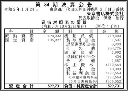 東京書店 第34期決算
