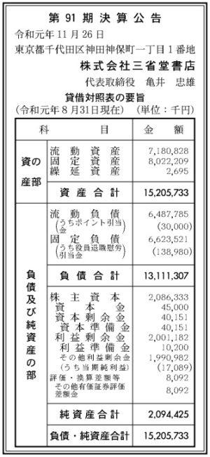 三省堂書店 第91期 決算