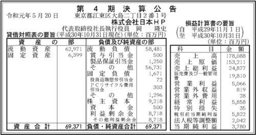 日本HP 第4期決算