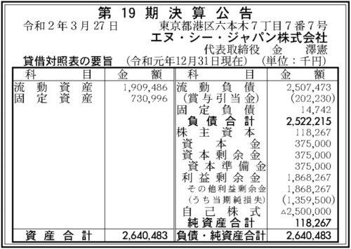エヌ・シー・ジャパン 第19期 決算