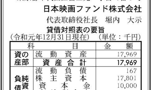 日本映画ファンド 第16期 決算