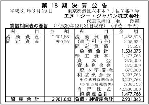 エヌ・シー・ジャパン 第18期決算