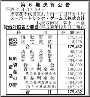 スーパートリック・ゲームズ 第6期 決算