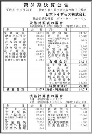 日本トイザらス 第31期決算