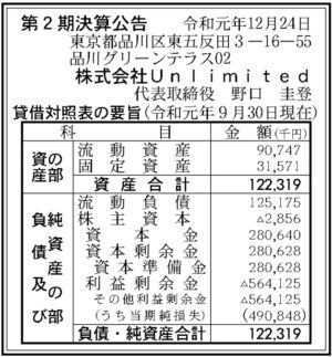 Unlimited 第2期決算