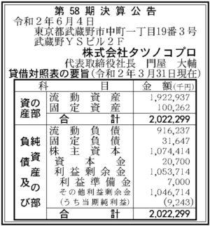 タツノコプロ第58期決算
