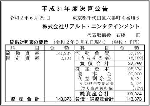 リアルト・エンタテインメント平成31年度決算