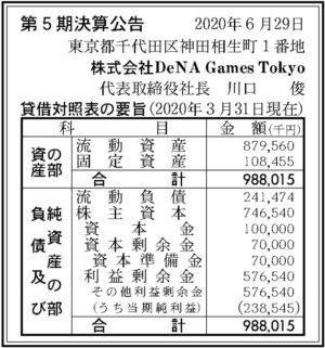DeNA Games Tokyo第5期決算
