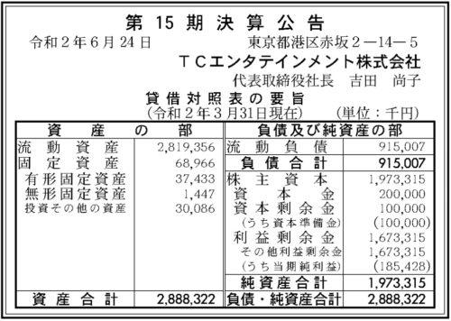 TCエンタテインメント第15期決算