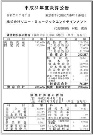 ソニー・ミュージックエンタテインメント平成31年度決算