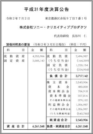 ソニー・クリエイティブプロダクツ平成31年度決算