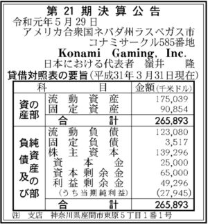 Konami Gaming第21期決算