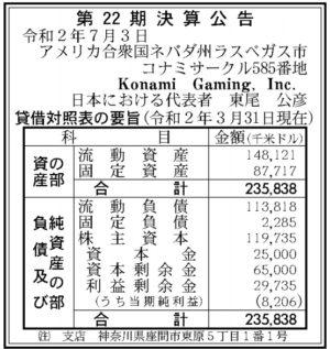 Konami Gaming第22期決算