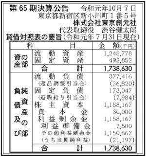 東京創元社 第65期決算