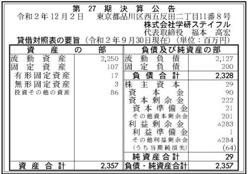 学研ステイフル 第27期決算