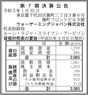 ウォーゲーミングジャパン 第7期決算