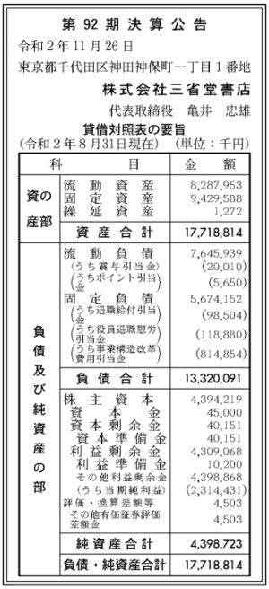 三省堂書店 第92期決算