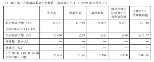 エディア 2021年2月期通期業績予想