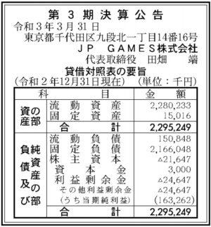JP GAMES 第3期決算