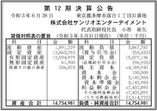 サンリオエンターテインメント第12期決算