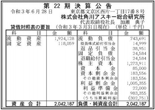 角川アスキー総合研究所第22期決算