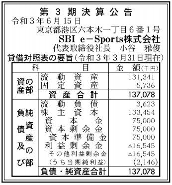 SBIe-Sports第3期決算