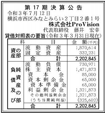 ProVision第17期決算