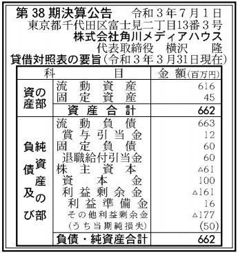 角川メディアハウス第38期決算